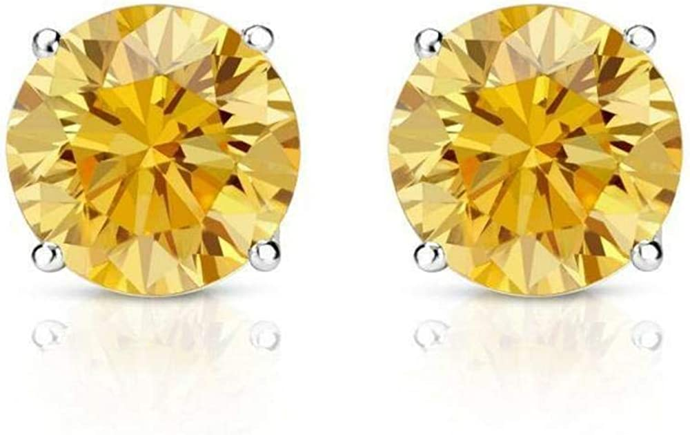 1.50 ct Round Brilliant Cut Canary Yellow Diamond Stud Earrings in 18k 750 White Gold Brilliant Cut Basket Screw Back