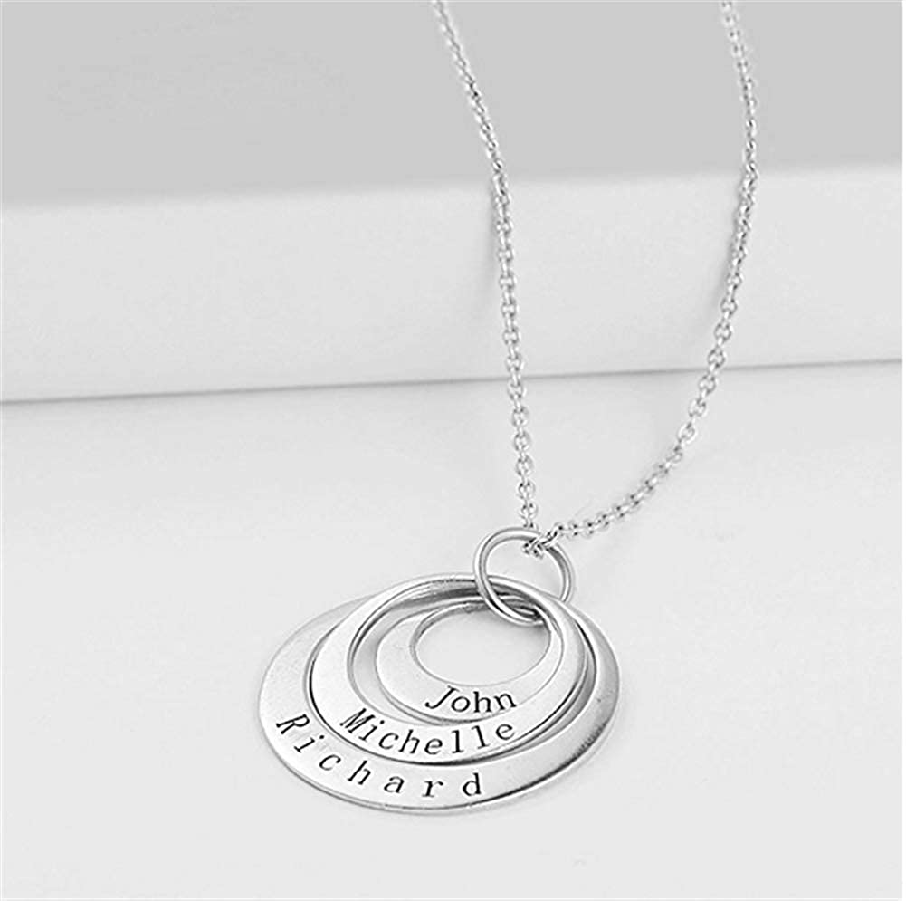 A for Mom Engraved with Any Name Meichang Scarlett Personalized Disc Necklace