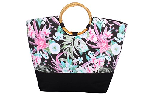 Fifties Hawaii Flower vintage Bambus Hawaiiblüten Blumen Shopper Tasche
