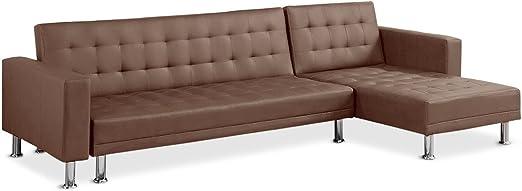 Menzzo - Sofá Cama con Chaise Longue (281 x 155 x 76 cm, Metal y Tela), Color Gris, Metal, marrón, 281 x 155 x 76 cm: Amazon.es: Hogar