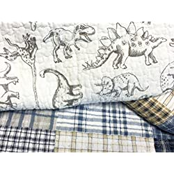 Cozy Line Home Fashions Jurassic Park Dinosaur Benjamin Plaid Print Pattern Navy Blue White Grey Bedding Quilt Set Reversible Coverlet Bedspread 100% Cotton Gifts for Kids Boy(Queen - 3 Piece)