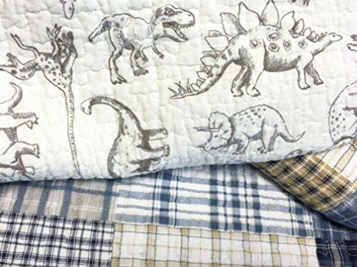 Cozy Line Home Fashions Jurassic Park Dinosaur Benjamin Plaid Print Pattern Navy Blue White Grey Bedding Quilt Set Reversible Coverlet Bedspread 100% Cotton Gifts for Kids Boy(Queen – 3 piece)