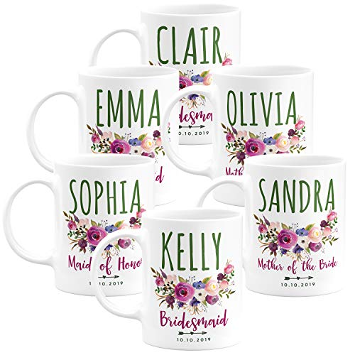 Personalized Wedding Gifts Bridesmaid Coffee Mug - 11oz & 15oz Large Ceramic Coffee Cup with Matching Coaster - Custom Bridesmaid Gifts, Bachelorette Party Favors - Design 1 - Set of 6 ()