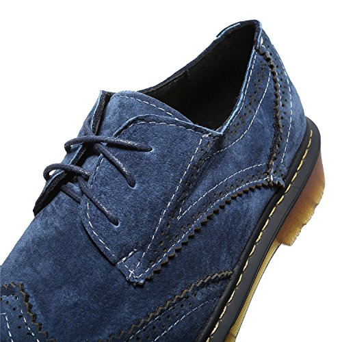 Smilun Girl¡¯s Derby Classic Lace-up Shoes Suede Faux Leather Flats Office Business Dress Shoes for Girl Dark Light Blue Size 6 B(M) US by Smilun (Image #4)