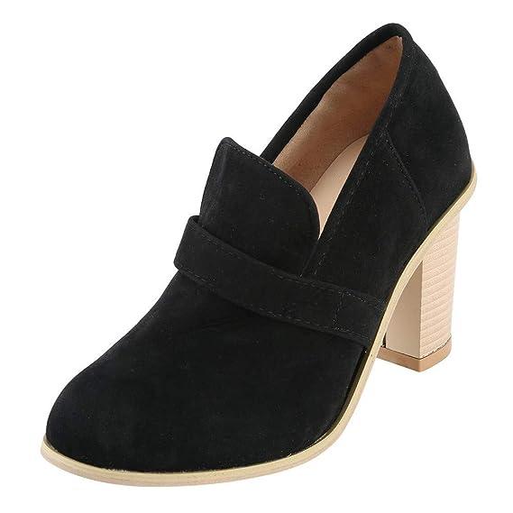 ❤ Botas Cortas de tacón Alto para Mujeres de Invierno, Zapatos de tacón Alto para Mujer de Ante con Punta Redonda Botas de Color Puro, Zapatillas sin ...