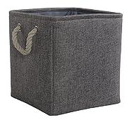 TheWarmHome Toy Bin Organizer Fabric Basket Storage Basket with Handles Nursery Storage Basket for Books,Grey,10.5×10.5×10.5 inch