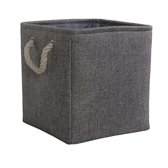 TheWarmHome Decorative Basket Rectangular Fabric Storage Bin Organizer Basket with Handles for Clothes Storage (Grey, 13L×13W×13H) - MULTI-PURPOSE:Great linen basket for books,magazines,toy storage,dog toys basket,shoe basket,clothes basket,shelf,baby bin,pet toy storage,towel basket,blankets,decorations,office supplies,DVD and gifts,Decorative basket ideal for living room,bedroom,bathrooms,utility room,kids room,Nursery Room,craft room,playroom,closet,dorms,condos,laundry room,toilet or even in the hallway.Neutral color can match a lot of home styles- keeping your home nice and tidy PREMIUM QUALITY:This fabric basket is made of durable linen &Thicken Environmental EVA,sturdy metal rod frame around the top keep the basket shape,Durable and high quality material make this storage basket last a good long time.It is able to hold ton of stuffs and can last a lifetime.Lined with a thin muslin fabric.It is easy to clean,just wipe with a damp sponge or cloth COLLAPSIBLE STORAGE BASKET:Collapsible for easy storage if not in use,Simply fold the basket down flat for space-saving storage when not in use or when needing to transport - living-room-decor, living-room, baskets-storage - 5135aeX0rvL. SS570  -