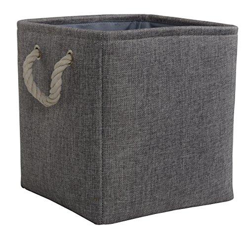 5135aeX0rvL - TheWarmHome Toy Bin Organizer Fabric Basket Storage Basket with Handles Nursery Storage Basket for Books,Grey,10.5×10.5×10.5 inch