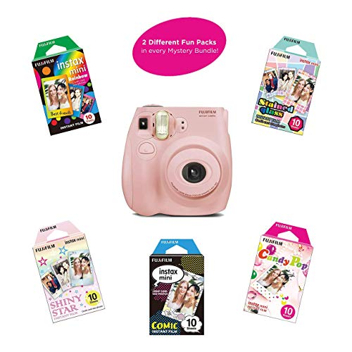 Fujifilm Instax Mini 7S Instant Camera (Certified Refurbished) with Mystery Film Pack Bundle | 2 Mystery Film Fun Packs of 10 Sheets | Rainbow, Shiny Star, Comic, Candy Pop & Stained Glass(Light Pink)