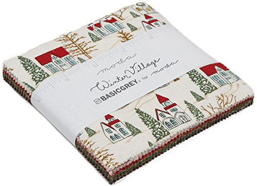 Winter Village Charm Pack by BasicGrey; 42-5 Inch Precut Fabric Quilt Squares - Village Charm