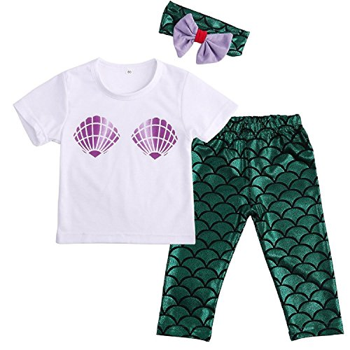 Mermaid Outfits For Toddlers (Baby Girls Cute Shell T-shirt + Mermaid Pants Outfit with Headband 12-18M Mermaid)