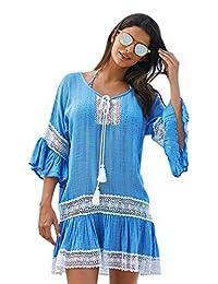 BOZEVON Camisa de la protección del sol de las mangas flojas del verano de las mujeres, bata atractiva del bikiní, mini vestido de la playa del estilo de Bohemia