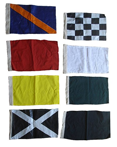 Brass Blessing Nascar Flag Set - Race Nascar Signal Flag - Complete Set of 8 Flags - Sports Car Race Racking : (100% Polyester - 8 Inches x 13 Inches) ()