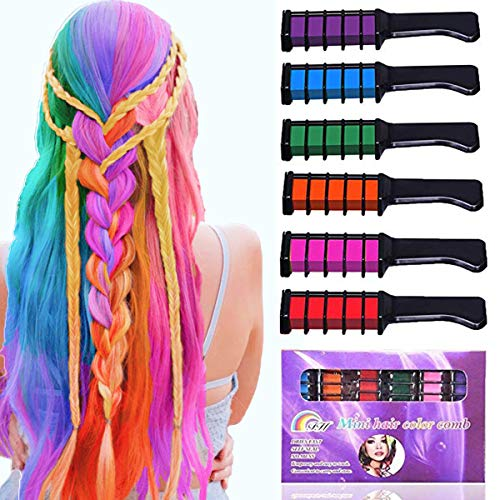 Hair Chalk for Girls Birthday Gifts,Temporary Bright Washable Hair Color Spray for Kids, Hair Chalk Comb Gift for Girls Age 4 5 6 7 8 9 10+ on Birthday Cosplay Halloween Christmas Parties]()