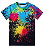 Funnycokid 3D T Shirts Youth Teenagers Colorful Ink Novelty Boy Girl Short Sleeve Shirts Black Sizes L