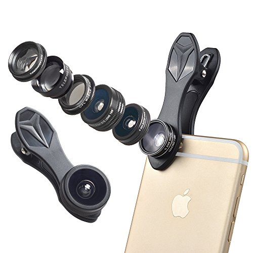 ISSIKI Electronics HD Cell Phone Camera Lens Kit for iPhone 6/ 6s Plus/ SE/ 7/ Samsung Galaxy S8/ S8+/ S7/ S7 Edge/ S6 Edge/ S5 and Other Android Smart Phone (7 in 1)