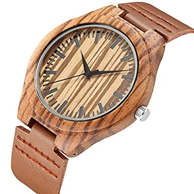 Unique Wooden Mens Watches with Genuine Leather Gift Quartz Wrist Watch