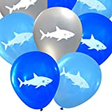 Shark Latex Balloons (16 pcs) by Nerdy Words (Blues & Silver)