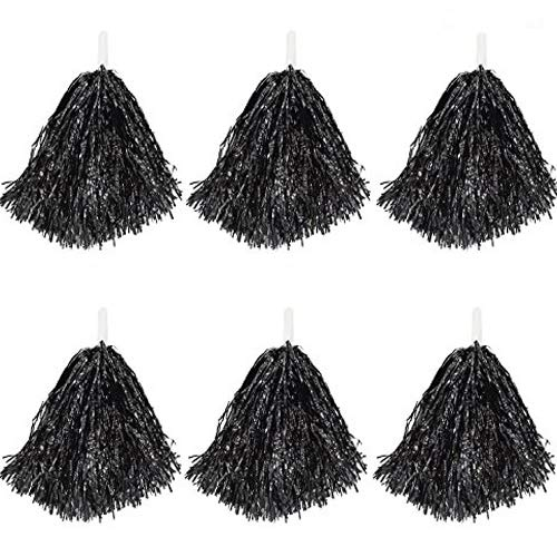 CRIVERS 12pc Pom Poms Pom-Pom, Pompons Pom-Pom Girl pour Ball Dance Fancy Dress Sports de Fête De Nuit (Noir, 30g)