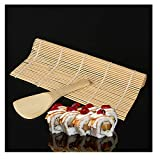 Promisen Bamboo Sushi Kit,Sushi Maker Kit Rice Roll Mold,Kitchen DIY Mould Roller Mat Rice Paddle Set,Beginner Sushi Making Kit (Beige)