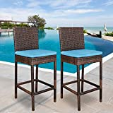 Super Deal Outdoor Upgraded All Weather Wicker Bar Stools with Cushions, Espresso Turquoise (Set of 2)