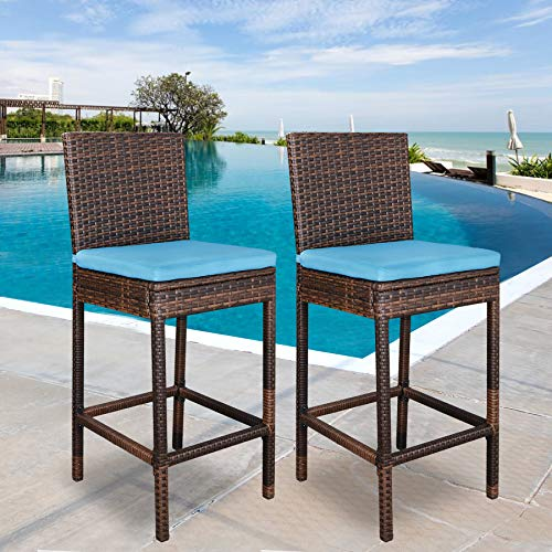 Super Deal Outdoor Upgraded All Weather Wicker Bar Stools with Cushions, Espresso Turquoise (Set of 2) by SUPER DEAL