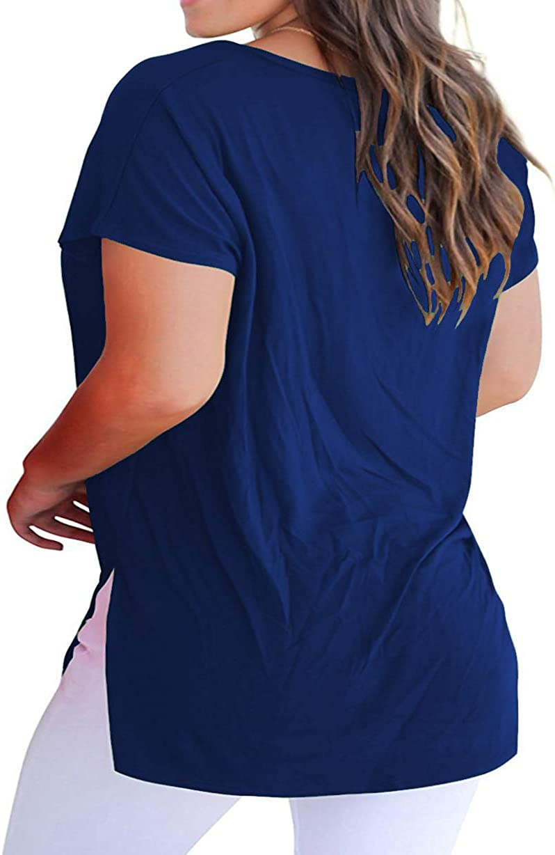 ROSRISS Womens Plus Size Short Sleeve T Shirt V Neck High Low Tops Blouse Tunics with Side Split