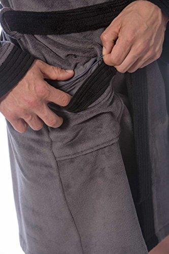 Morgenstern, Herren Kurz-Bademantel, mit Kapuze, Gr. L, anthrazit ( grau mit schwarz abgesetzt ) , Größen M bis XXL verfügbar, Außenseite kuschelige Microfaser Innenseite saugstarke Baumwolle ( Frotte