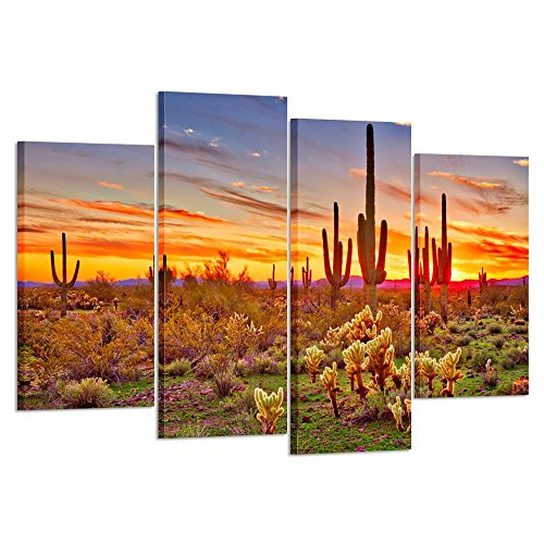 Kreative Arts – Colorfull Sunset with Saguaros Landscape Canvas Wall Art Sonoran Desert Picture Gallery Wrapped Botanical Cactus in Arizona Picture Print on Canvas for Living Room