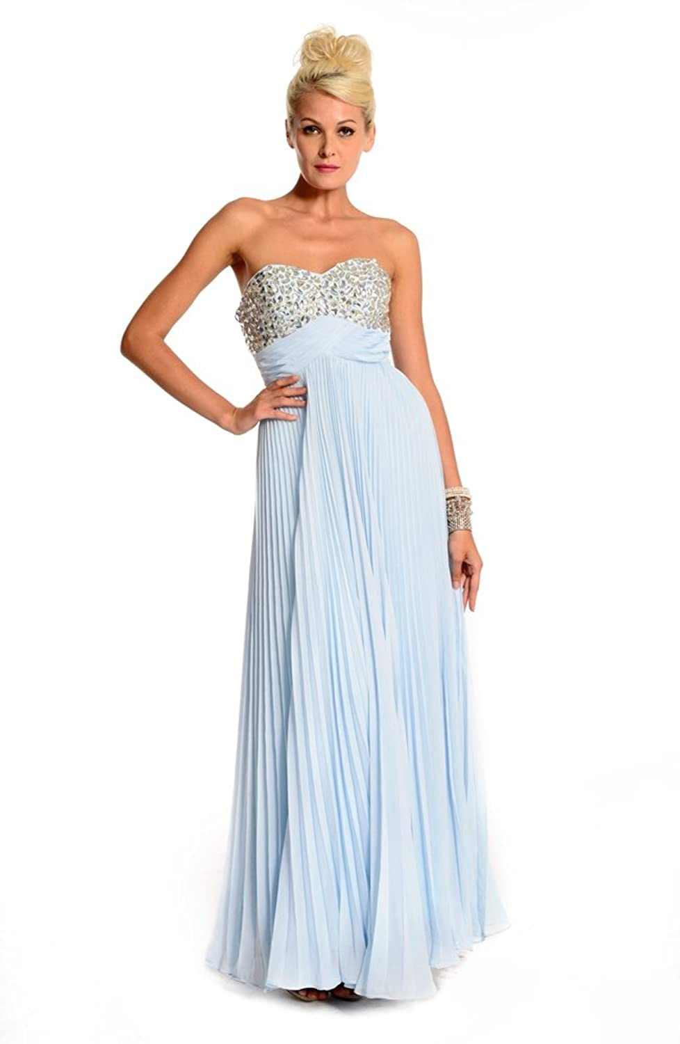 Amadeo Elegant Sweetheart Draped Chiffon Beading Empire Blue Evening Dresses LF057