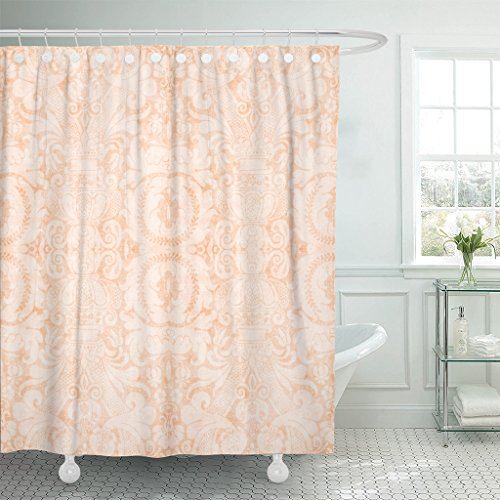 Emvency Shower Curtain Pink Coral Vintage Light Peach Orange Flower Damask Floral Waterproof Polyester Fabric 72 x 72 Inches Set with Hooks