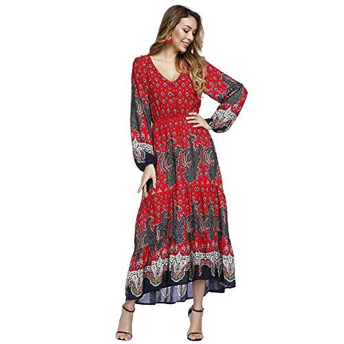 Lover-Beauty Vestido Largo Mujer Floral Print Top Ajustado Casual y Elegante Cuello Redondo Falda Verano Costura Manga Corta Rojo Bohemia