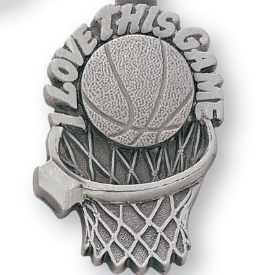Pewter Awards - Decade Awards Pewter Basketball Key Chain - I Love this Game Keychain