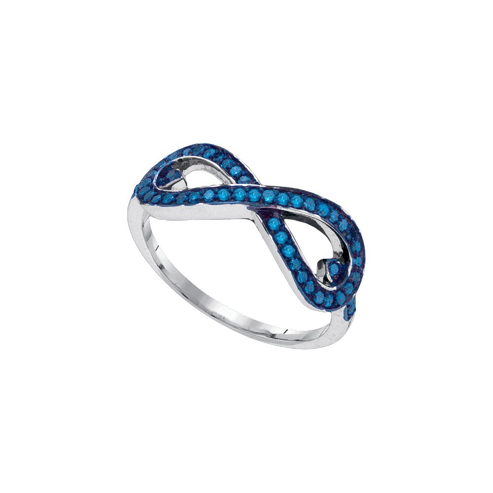 Sterling Silver Womens Round Blue Colored Diamond Infinity Band Ring 1/3 Cttw (I2-I3 clarity; Blue color)