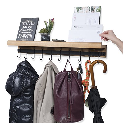 Rustic State Decorative Entryway Organization Wooden Floating Shelf with Rail and 10 Hooks Natural