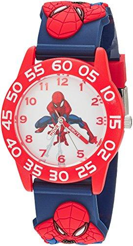 Marvel Boy's 'Spider-Man' Quartz Plastic Casual Watch, Color:Blue (Model: WMA000171)