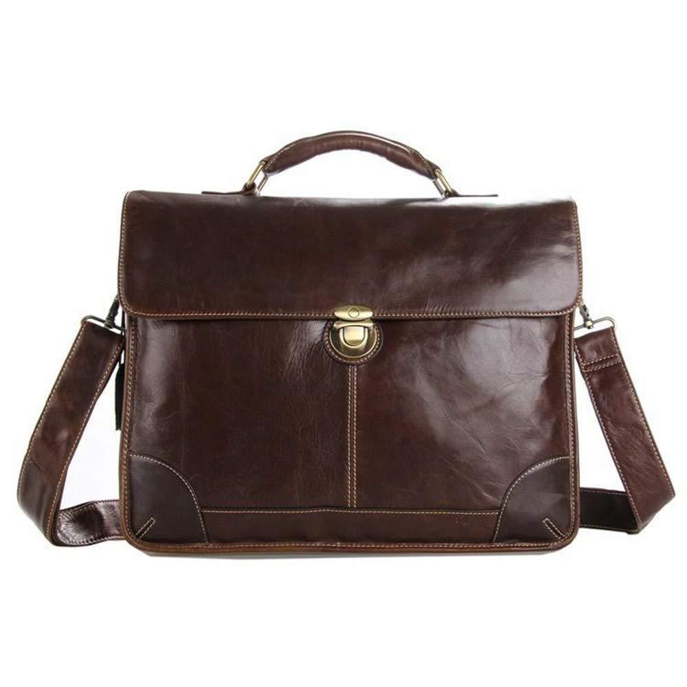 Lianaic Laptoptasche Arbeiten Sie Öl Wachs Leder   Herren Geschäft Handtasche Große Büro Aktentasche