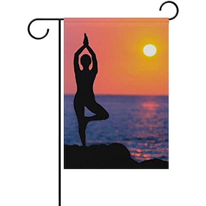 Amazon.com : Yunnstrou Sunset Beach Yoga Balance Garden Flag ...