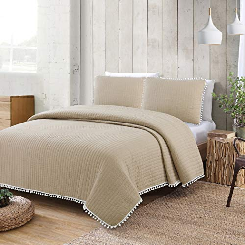 American Home Fashion Estate Collection Costa Brava Pom Pom Quilt Set Natural Twin 2 Piece ()