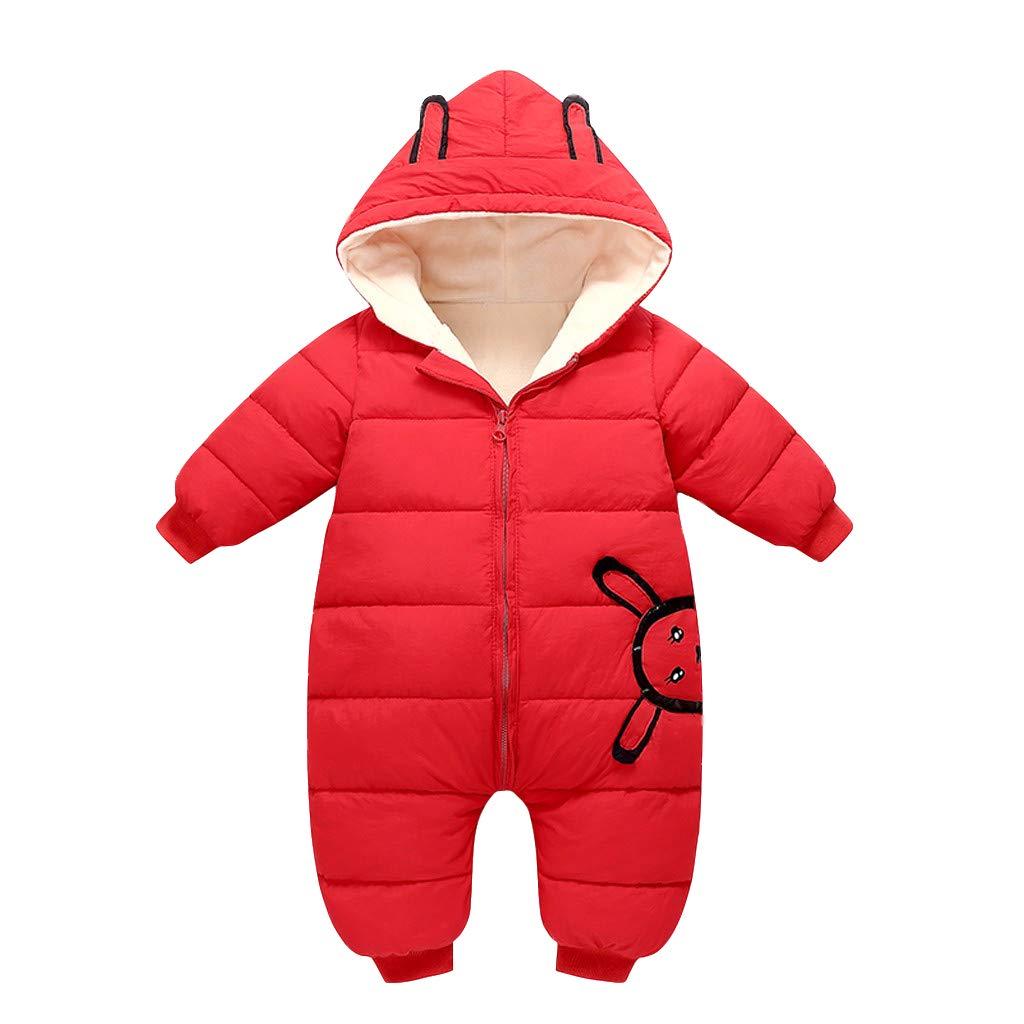 Piumino Bambino Invernale Tute da Neve Cartone Animato Neonato Hooded Pagliaccetti Tuta Giacca Bambina Antivento Cappotto Snowsuit per Bambini Cappuccio 0-24 Mesi