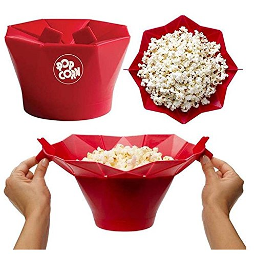 Bowl Kitchen Popcorn Microwave Tools Silicone Food Grade Making Healthier At Home For Friends And (Green Pot O Gold Glasses)