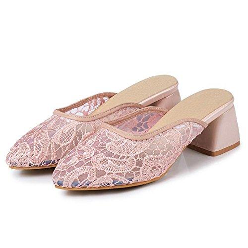 Ete Sandales Mules Talons Femmes Pink RAZAMAZA vwFq58BU