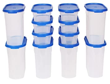 Gluman 12 Pcs Set Of Modular Kitchen Storage Container Box   Mod Blue C6 Good Ideas