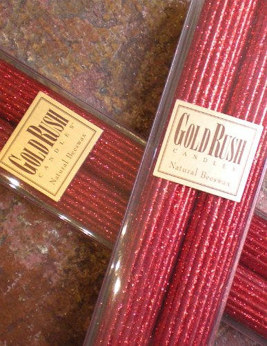 (Gold Rush 12 Inch Natural Beeswax Glitter Candles, Ruby Red Color, Boxed Set of 2 Candles)