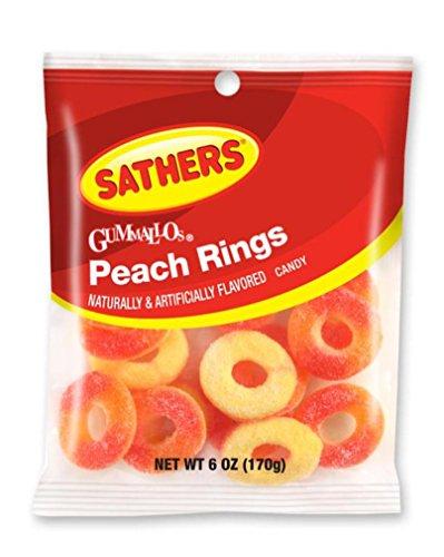 Sathers Gummallo's Peach Rings Gummy Candy, 6 Ounce Bag