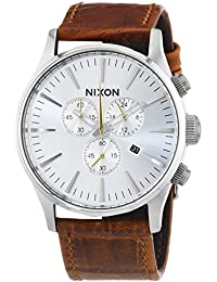 Men's 'Sentry' Quartz Stainless Steel and Leather Casual Watch, Color:Brown (Model: A405-1888)