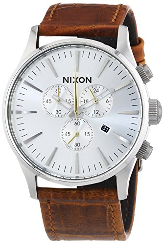 NIXON Men's 'Sentry' Quartz Stainless Steel and Leather Casual Watch, Color:Brown (Model: A405-1888) by NIXON