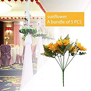 benefit-X 5 PCS Artificial Flowers Artificial Sunflower Bouquet Wedding Bouquet Arrangements for Home Kitchen Living Room Dining Table Centerpieces Decorations Artificial Flowers 59