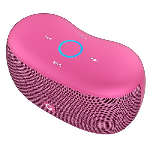 DOSS SoundBox xs Bluetooth Speaker, Portable Wireless Bluetooth 4.0 Touch Speakers with 10W HD Sound, Microphone, for Echo Dot iPhone iPad Samsung Tablet, Gift Ideas for Girls (Pink)