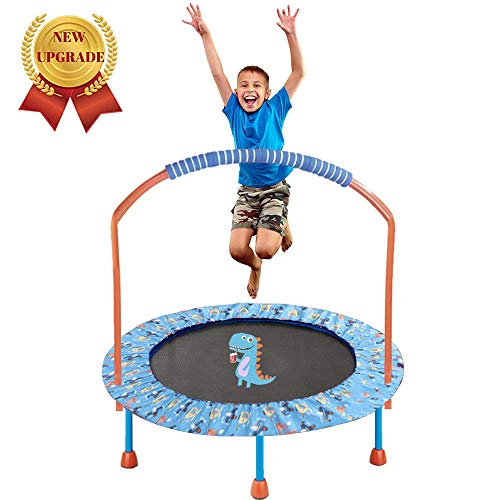 LBLA 38-Inch Kids Trampoline with Adjustable Handrail and Safety Padded